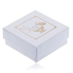 Gyöngyház fehér dobozka fülbevalóra, arany kehely, korsó és galamb