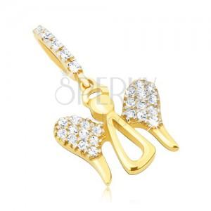 Arany medál - fényes angyalkörvonal, nagy cirkóniás szárnyak