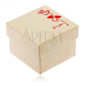 Fényes krém színű doboz gyűrűre, piros virág, For you