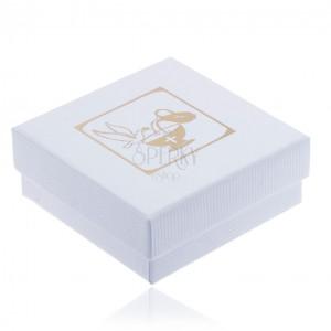 Recés fehér ajándékdoboz érszerre, arany színű galamb, korsó és kehely