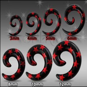 Fekete expander fülbe - spirál piros csillagokkal