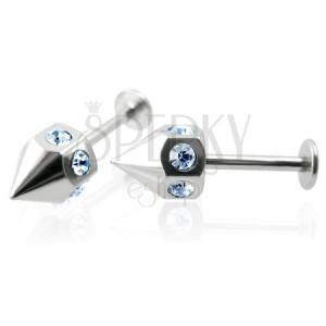 Labret piercing - tüske kék cirkónia kövekkel, pár