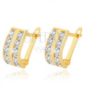 Arany fülbevaló - függőleges cirkóniás sávok, lekerekített fényes felszín