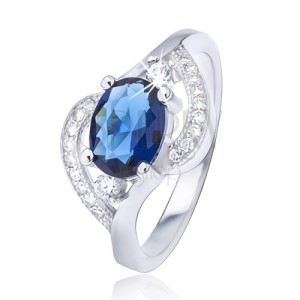 Ezüst gyűrű ovális kék cirkóniával, hullámos szárak