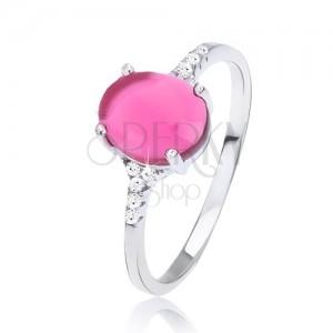 Gyűrű 925 ezüstből - sima rózsaszín ovális kő