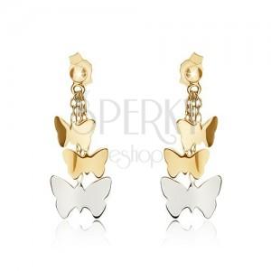 Kétszínű fülbevaló 14K aranyból - fényes lepkék láncokon
