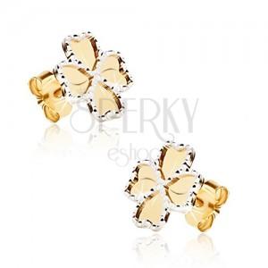 Fülbevaló 14K sárga aranyból - lapos gravírozással díszített négy levél, körvonal