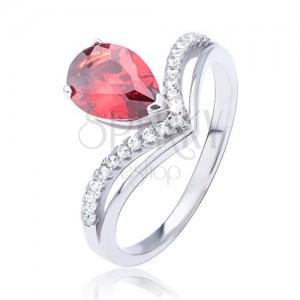 Gyűrű 925 ezüstből, piros könnycsepp alakú cirkónia és kettős csúcs