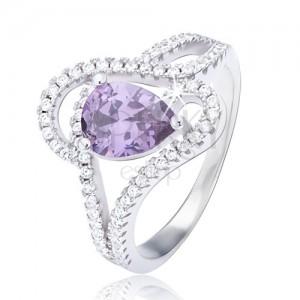 Gyűrű 925 ezüstből, lila színű könnycsepp cirkónia, hullámos ornamentum