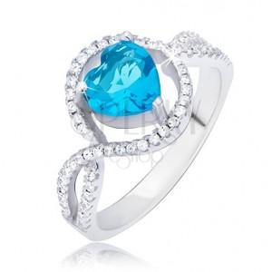 Ezüst gyűrű, azúrkék szív alakú kő cirkóniás körben