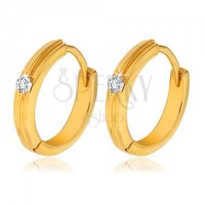 Arany kerek fülbevaló - vékony kidomborodó sáv, átlátszó kő