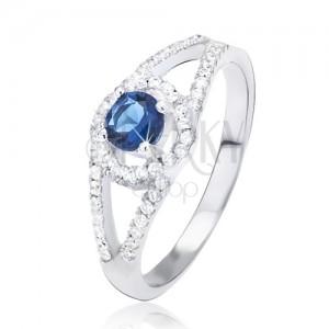 Gyűrű 925 ezüstből, kettős cirkóniás szár, kék kő a körben