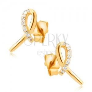 Fülbevaló 14K sárga aranyból - fényes masni, átlátszó köves ív