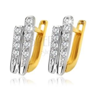 Fülbevaló 14K sárga aranyból - két enyhén ívelt cirkóniás sáv