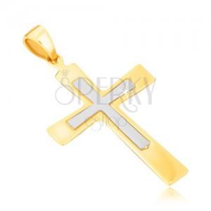Medál 14K aranyból - kétszínű kereszt enyhén szélesedő szárakkal