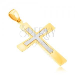 Arany medál - fényes kétszínű kereszt szélesedő szárakkal