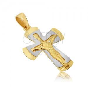 Kétszínű medál 14K aranyból - kereszt keresztre feszített Krisztussal