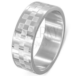 Sebészeti acél gyűrű - matt és fényes négyzetek