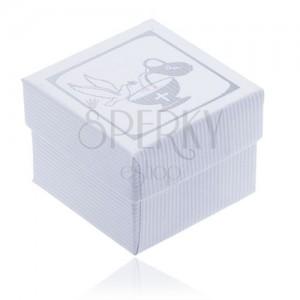 Fehér recés dobozka fülbevalóra - ezüst galamb, kehely és korsó