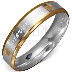 """Kétszínű gyűrű sebészeti acélból, szives kivágások, """"forever love"""""""