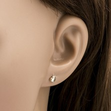 Arany fülbevaló - csillogó szabályos szív, sima felszín