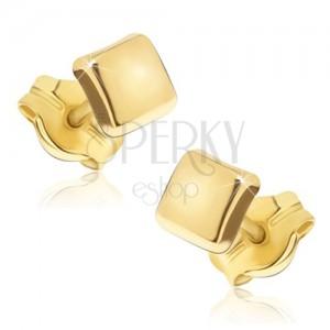 Csillogó arany fülbevaló - fényes négyzetek enyhén kidomborodó felszínnel