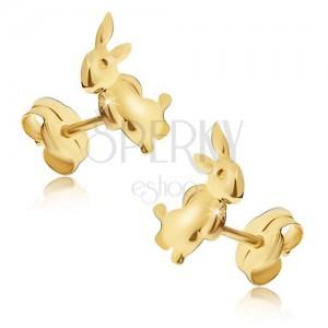 Fülbevaló 14K sárga aranyból - hátsó lábain álló nyuszi