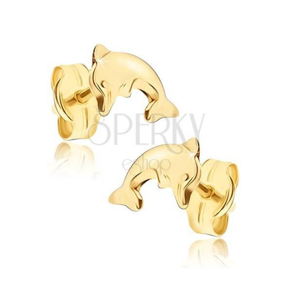 Fényes fülbevaló 14K sárga aranyból - hajlított ugró delfin test