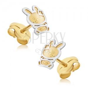 Arany fülbevaló - kétszínű nyuszi szatén felülettel, fényes körvonal