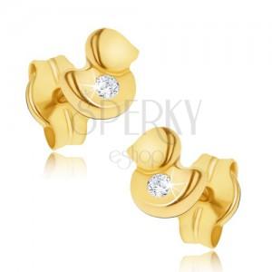 Fülbevaló 14K sárga aranyból - kis csillogó kacsa, átlátszó cirkónia