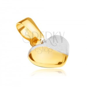 Medál 14K sárga aranyból - szabályos kitüremlő szívecske, kétszínű