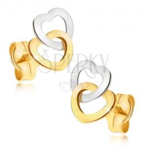 Arany fülbevaló - kétszínű csillogó szabályos szívkörvonal