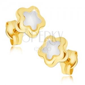 Fényes fülbevaló 14K aranyból - ötszirmú kétszínű virág