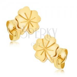 Fényes arany fülbevaló - szerencséthozó négy levél, díszített vésetek