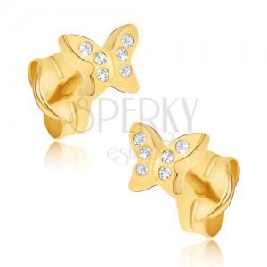 Fülbevaló 14K sárga aranyból - kicsi cirkóniás lepkék