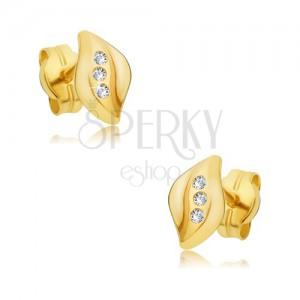 Fülbevaló 14K sárga aranyból - hullámos levélke, három átlátszó cirkónia