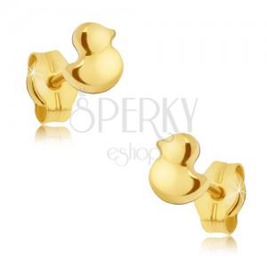 Arany beszúrós fülbevaló - kis csillogó kacsa