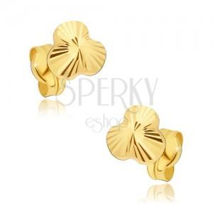 Arany fülbevaló - csillogó három levél sugaras vésetek