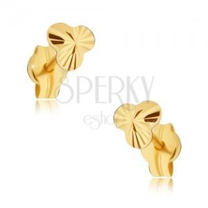Arany fülbevaló - apró csillogó három levél sugaras vésetekkel