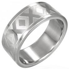 Sebészeti acél gyűrű - fényes X motívumok, 8 mm