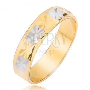 Fényes arany ezüst színű gyűrű gyémánt mintával
