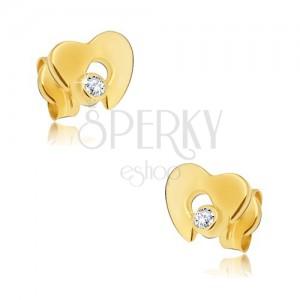 Fülbevaló 14K sárga aranyból - lapos fényes szív kivágással, cirkónia