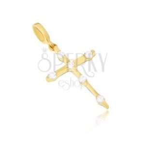 Arany medál - vékony latin kereszt, kerek átlátszó kövek