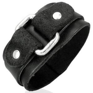 Fekete bőr karkötő téglalap alakú csattal
