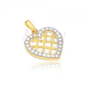 Arany medál - szabályos szívkörvonal, fényes háló, cirkóniák