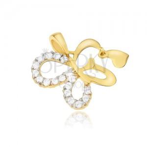 Arany medál - csillogó lepke körvonal, függő szív, kövek