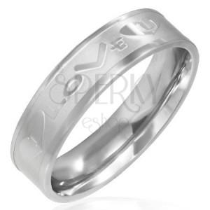 "Acél gyűrű matt középső sávval, ""I LOVE U"""