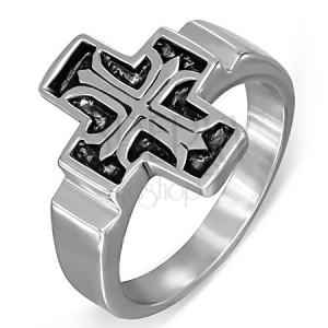 Acél gyűrű, Fleur de Lis a patinált latin keresztben