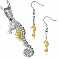 Kétszínű acél szett - fülbevaló és medál lánccal, tengeri csikóhal