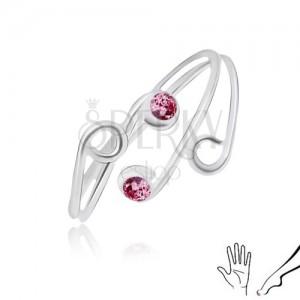 Ezüst gyűrű kézre vagy lábra, szétágazó szárak lila cirkóniákkal